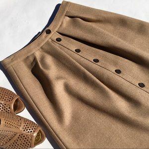 J. Crew 100% Wool Tan Skirt w/ Bottons